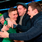 Jordan Larmour of Ireland celebrates with supporters