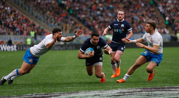 Sean Maitland of Scotland scores the team's third try. Photo: Getty Images