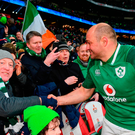 Rory Best of Ireland is congratulated by supporters