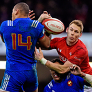 France's Gael Fickou fights for possession with Wales' Liam Williams in Cardiff yesterday. Photo: Reuters