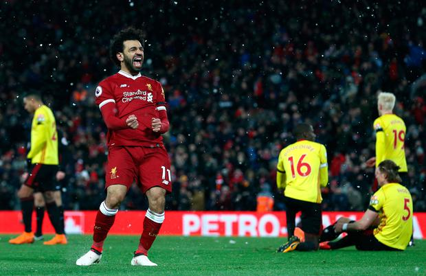 Salah of Liverpool celebrates scoring his side's fourth goal. Photo: Getty Images