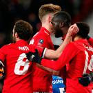 Manchester United's Romelu Lukaku celebrates scoring their first goal
