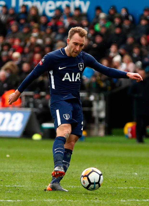 Christian Eriksen of Tottenham Hotspur scores his sides third goal. Photo: Getty Images