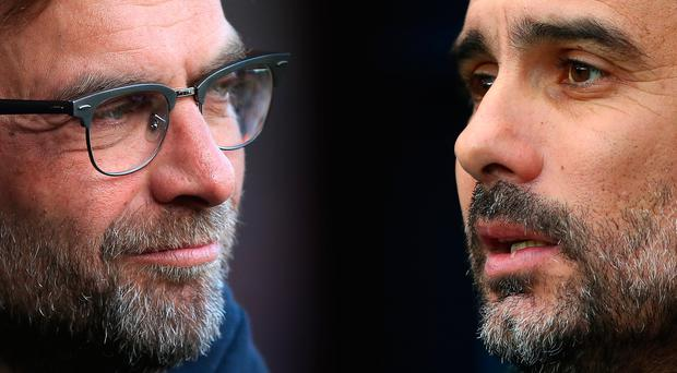 Liverpool manager Jurgen Klopp and Manchester City manager Pep Guardiola. Photo: Getty Images