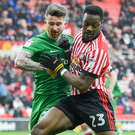 Preston's Ireland striker Sean Maguire tussles with Sunderland's Lamine Kone in North End's 2-0 victory at the Stadium of Light yesterday. Photo: Getty Images