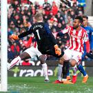 Maxim Choupo-Moting of Stoke City scores his side's goal. Photo: Getty Images