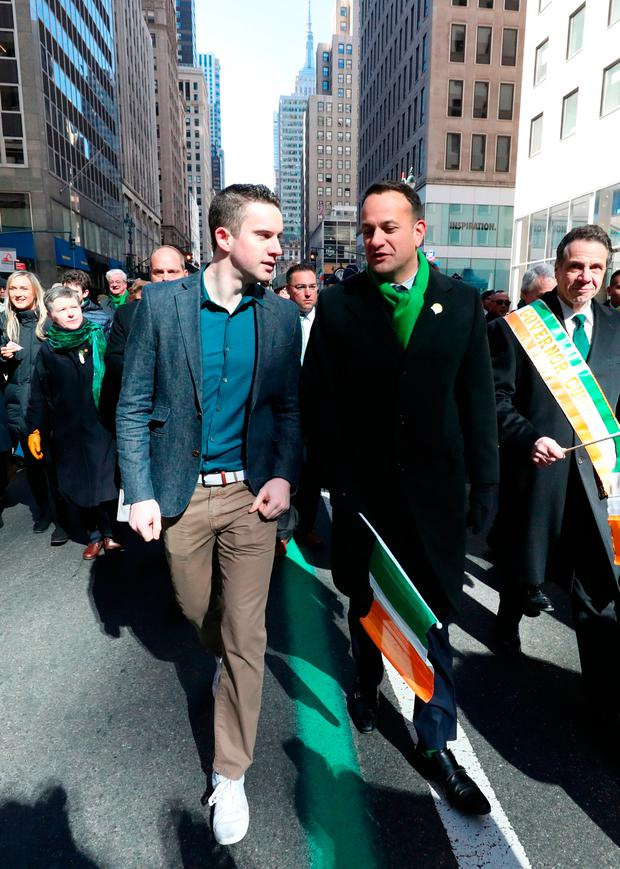 TOGETHER: Taoiseach Leo Varadkar (right) and partner Matt Barrett walk in the St Patrick's Day parade on 5th Avenue in New York City. Photo: Niall Carson/PA Wire