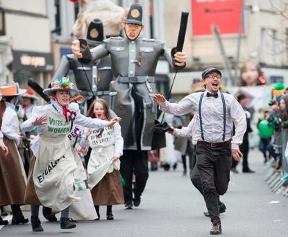 Cork Community Art Link performing in the St. Patrick's Day Parade in Cork Picture: Darragh Kane