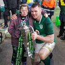 Peter O'Mahony with Jennifer Malone after the game at Twickenham