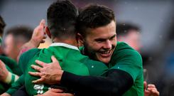 17 March 2018; Jacob Stockdale, right, and team-mate Rob Keaney of Ireland celebrate after the NatWest Six Nations Rugby Championship match between England and Ireland at Twickenham Stadium in London, England. Photo by Brendan Moran/Sportsfile