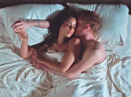 A still from the Lifetime movie Meghan & Harry: A Royal Romance
