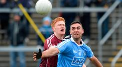 James McCarthy of Dublin in action against Adrian Varley of Galway during the Allianz Football League Division 1 Round 6 match between Galway and Dublin at Pearse Stadium, in Galway. Photo by Ray Ryan/Sportsfile