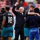 Southampton manager Mark Hughes celebrates after the match REUTERS/Phil Noble