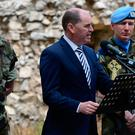 Paul Kehoe at the wreath-laying ceremony in Tibnin today to honour the 47 Irish troops who lost their lives with Unifil Credit: Defence Forces