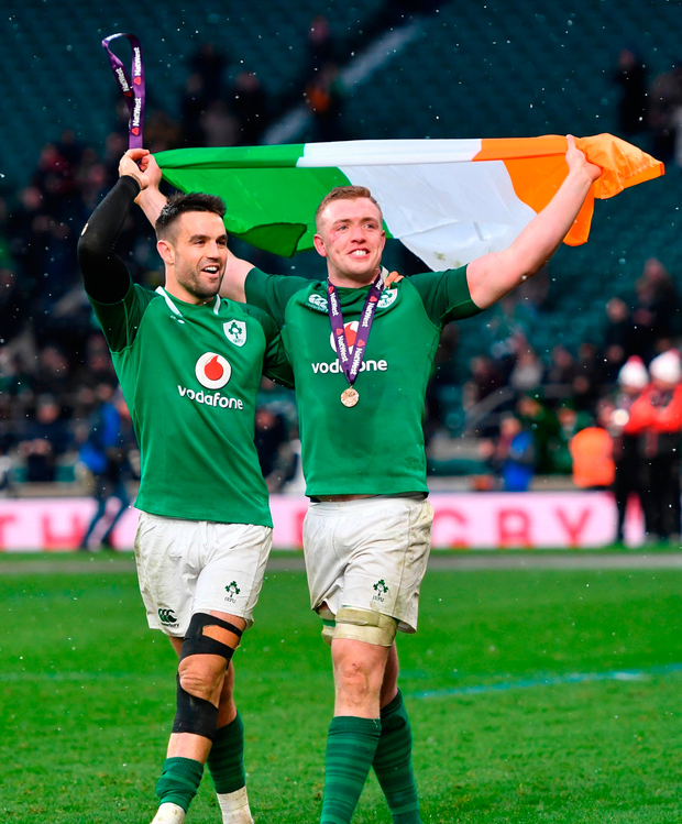 Conor Murray, left, and Dan Leavy of Ireland celebrate