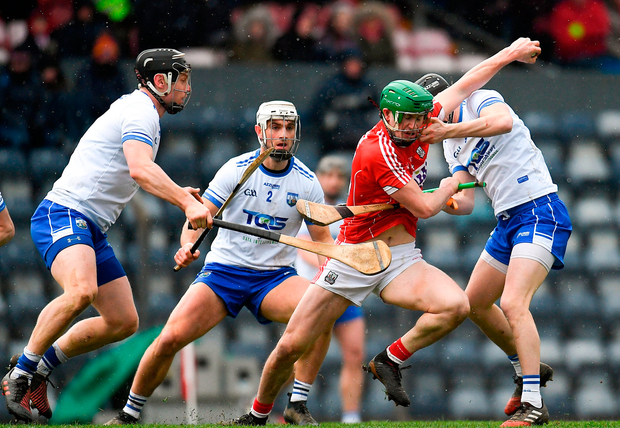 Seamus Harnedy of Cork in action against Conor Gleeson of Waterford