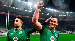 Conor Murray, left, and Jonathan Sexton of Ireland celebrate