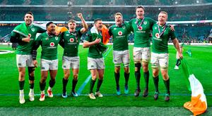 From left, Conor Murray, Bundee Aki, Garry Ringrose, Jonathan Sexton, Jordi Murphy, James Ryan and Dan Leavy celebrate their historic win at Twickenham. Photo: Brendan Moran/Sportsfile