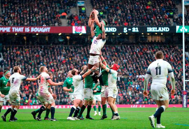 Ireland's CJ Stander (centre left) goes for the ball in the lineout. Photo: PA