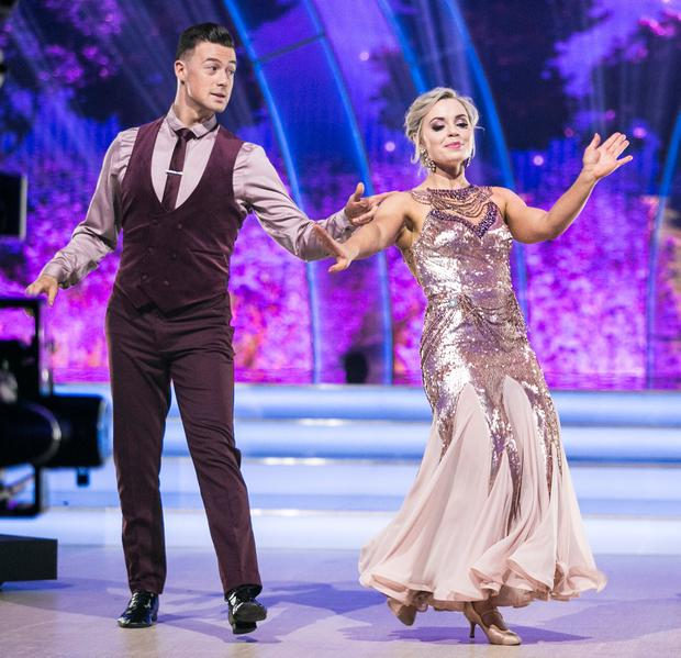 Former Cork Camogie Player and Broadcaster Anna Geary and Kai Widdrington , during the Fifth Live show of RTE's Dancing with the Stars. Credit: kobpix
