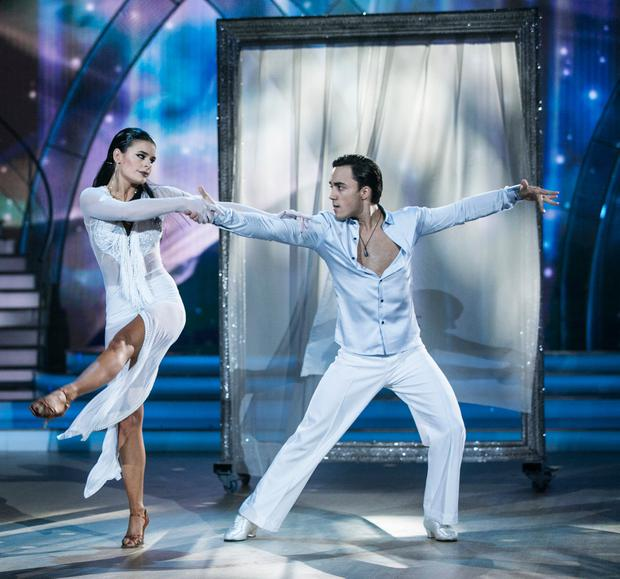 Singer Jake Carter and Karen Byrne ,during the Live show of RTE's Dancing with the Stars. Credit: kobpix