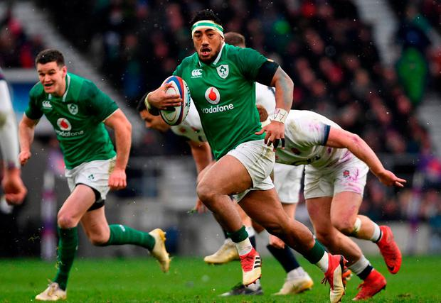 Bundee Aki's break in the build-up to CJ Stander's try was sensational and his pass to the flanker was even better. Photo: Ramsey Cardy/Sportsfile