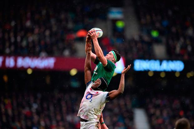 Ireland's lock James Ryan (top) reaches above England's Maro Itoje. Photo: AFP/Getty Images
