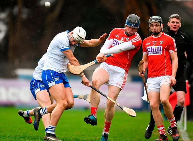 Shane Fives attempts to block a pass from Conor Lehane. Photo: Eóin Noonan/Sportsfile
