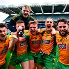 Corofin players celebrate their victory over Nemo in Saturday's All-Ireland Club SFC final at Croke Park. Photo: David Fitzgerald/Sportsfile
