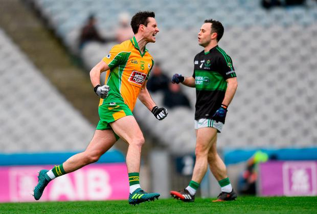 Michael Farragher celebrates after scoring Corofin's second goal. Photo: Eóin Noonan/Sportsfile