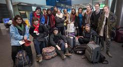 Students from Indiana University at Dublin Airport yesterday. Photo: Fergal Phillips