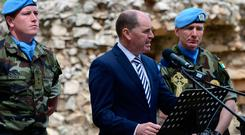 Paul Kehoe speaking at the wreath-laying ceremony in Tibnin, Lebanon, yesterday