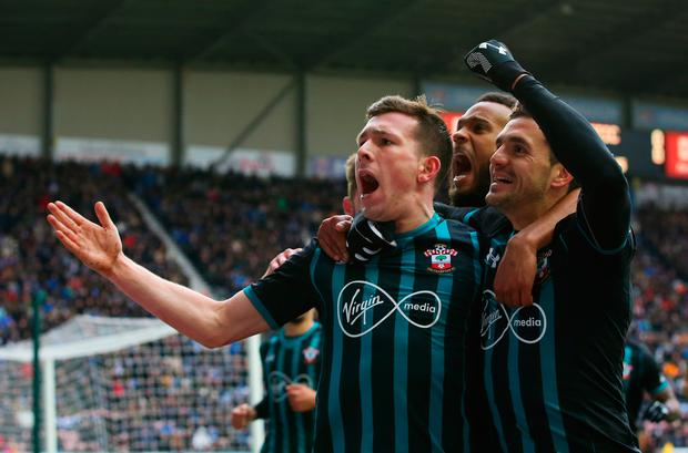Southampton's Pierre-Emile Hojbjerg celebrates after scoring the opening goal. Photo: Getty Images