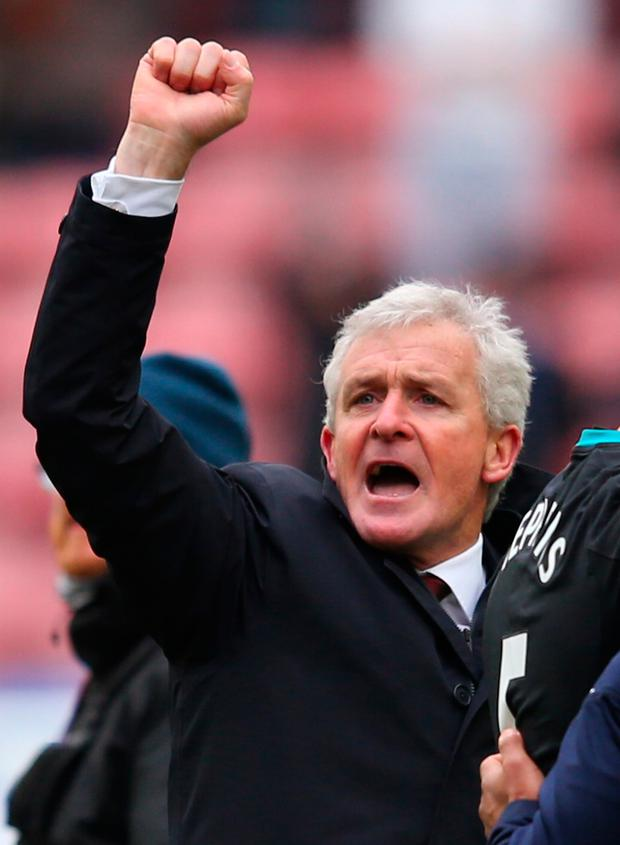 Southampton manager Mark Hughes celebrates. Photo: Getty Images