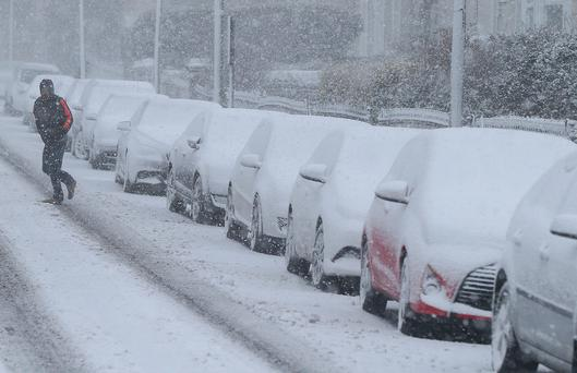 Snowy conditions yesterday in Dun Laoghaire Picture: Stephen Collins/Photos