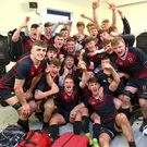 Glenstal Abbey players celebrating their victory over CBC in the Munster Schools Senior Cup final at Irish Independent Park yesterday. The Leinster Schools Senior Cup final was postponed and will now take place in the RDS on Friday at 2.0. Photo: ©INPHO