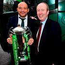 Ireland captain Rory Best is greeted by Minister for Transport, Tourism and Sport, Shane Ross during the Ireland Rugby homecoming at the Shelbourne Hotel,Dublin. Photo: David Fitzgerald/Sportsfile