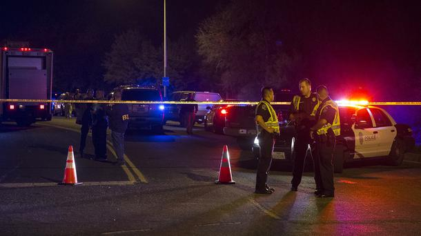 Authorities at the scene of an explosion in Austin, Texas (Nick Wagner/Austin American-Statesman via AP)