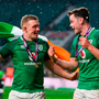 Dan Leavy, left, and James Ryan of Ireland celebrate