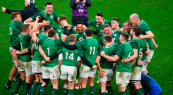 Ireland players celebrate at Twickenham