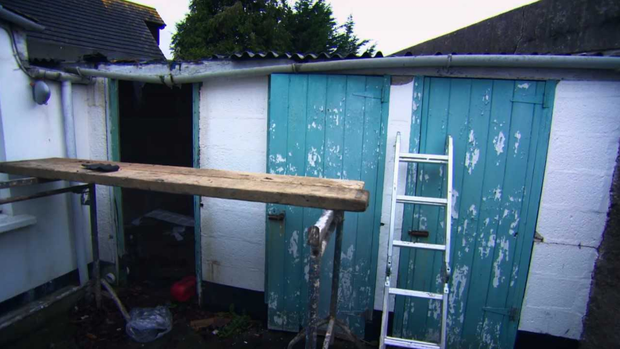 The old outbuildings before the renovations. Photo: RTE