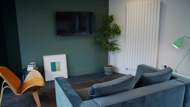 The new living room in Micheal and Clionas' transformed home. Photo: RTE