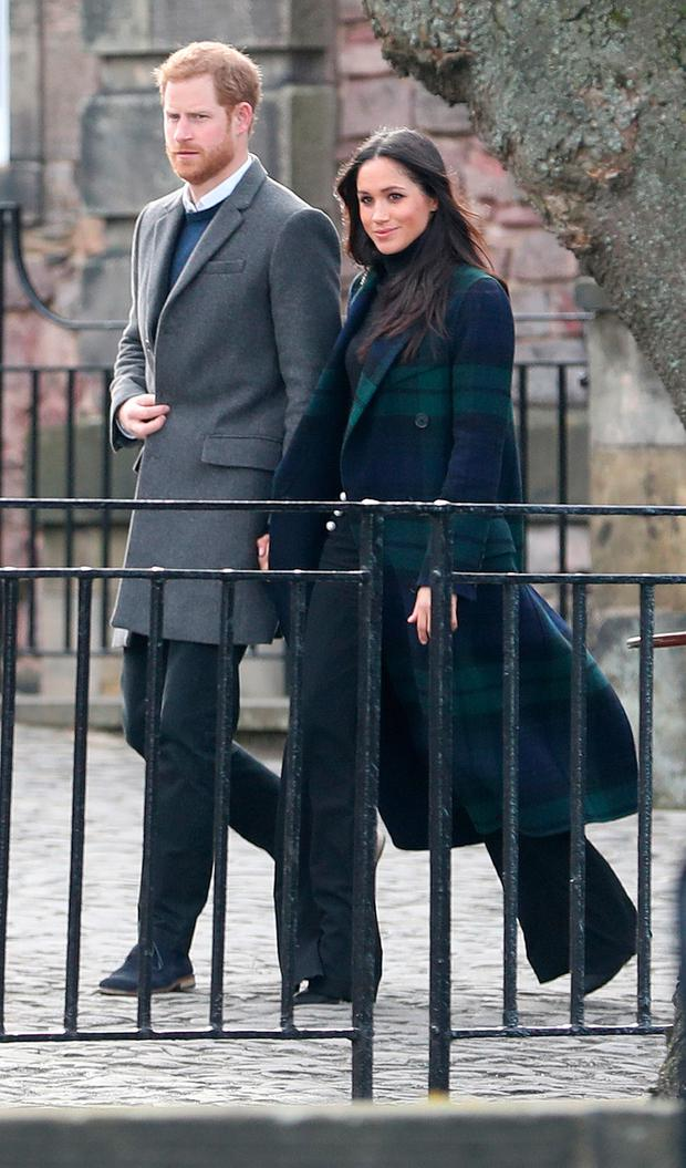 Prince Harry and Meghan Markle during their visit to Edinburgh Castle on February 13, 2018 in Edinburgh, Scotland. (Photo by Jane Barlow - WPA Pool/Getty Images)