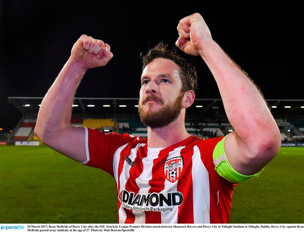 Ryan McBride of Derry City after the SSE Airtricity League Premier Division match between Shamrock Rovers and Derry City at Tallaght Stadium