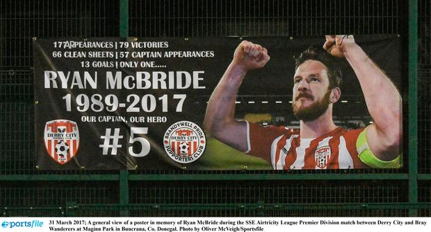 31 March 2017; A general view of a poster in memory of Ryan McBride during the SSE Airtricity League Premier Division match between Derry City and Bray Wanderers at Maginn Park in Buncrana, Co. Donegal. Photo by Oliver McVeigh/Sportsfile