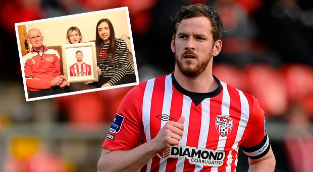 Ryan McBride and (inset) his father Lexie, sister Caitlin and partner Mairead