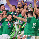17 March 2018; Ireland players including Cian Healy, Conor Murray and captain Rory Best celebrate with the trophy after the NatWest Six Nations Rugby Championship match between England and Ireland at Twickenham Stadium in London, England. Photo by Brendan Moran/Sportsfile