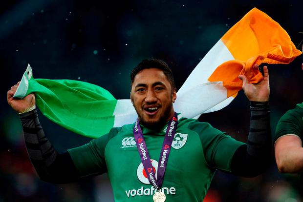 Bundee Aki celebrates after Ireland's victory in Twickenham. Photo: Paul Harding/PA Wire