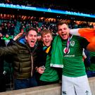 Ireland's Jordi Murphy celebrates with supporters. Photo: Ramsey Cardy/Sportsfile