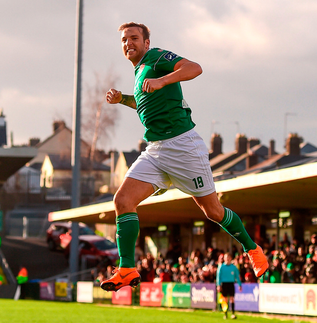 Karl Sheppard of Cork City celebrates after scoring his side's third goal. Photo: Eóin Noonan/Sportsfile